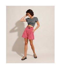 short clochard com pregas cintura super alta com cinto rosa