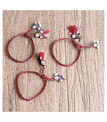 cotton wristband bracelets, 'elegant dolls' (set of 3) (mexico)