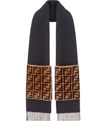fendi touch of fur scarf - black