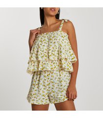 river island womens cream tiered floral printed playsuit