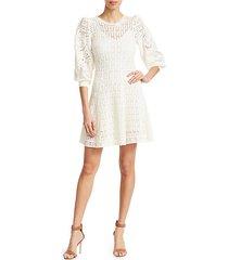 sofia long-sleeve crochet fit-&-flare dress