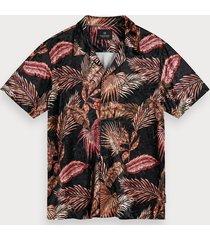 scotch & soda velours overhemd met print | hawaii fit