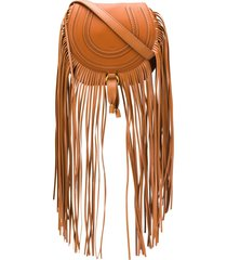 chloé mini marcie fringed crossbody bag - brown