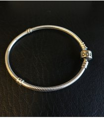 "genuine pandora .925 silver barrel clasp bracelet 7.5"" 19cm new #590702hv new"
