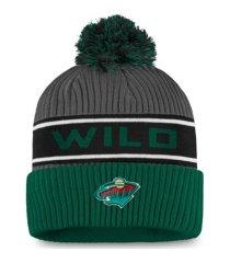 authentic nhl headwear minnesota wild 2020 locker room pom knit hat