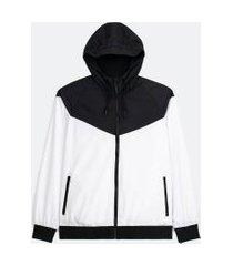 jaqueta esportiva quebra vento lisa com capuz | get over | branca | p