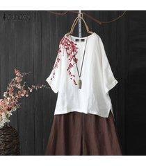 zanzea verano de las mujeres más el tamaño de bordado camisetas superiores camisa de la manera señoras de la blusa -blanco