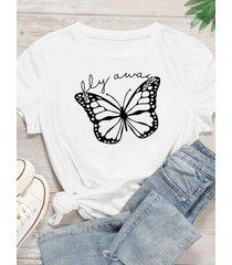 camiseta con estampado de mariposas plus size crew cuello