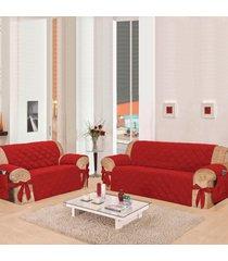 kit 2 capas para sofã¡: 2 e 3 lugares com 21 elã¡sticos casa dona vermelho - incolor - dafiti