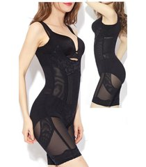 zipper full body shaper compression strappy waist trainer corset shapewear suit