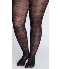 lane bryant women's smoothing tights - floral lace a-b black