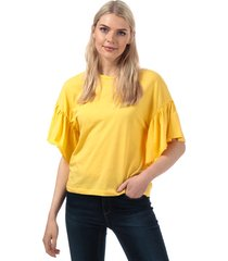 vero moda womens rebecca jersey top size 12 in yellow