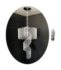 kit lustre cristal acrílico 27x75 + 1 lâmpada led acl12