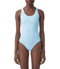 burberry jolie logo one-piece swimsuit, size large in pale blue at nordstrom