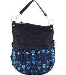 bolsa tiracolo desigual estampada azul-marinho