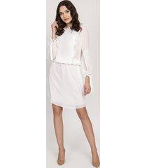 elegancka sukienka z falbankami, suk176 ecru
