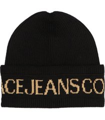 versace jeans couture black wool blend beanie