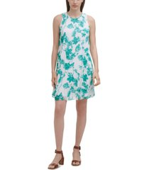 calvin klein printed chiffon dress
