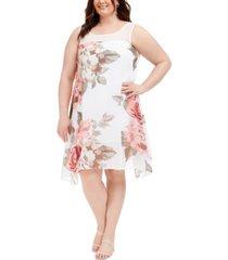 robbie bee plus size floral-print trapeze dress