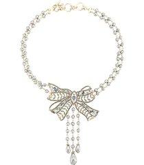marchesa nightingale bow necklace - blue