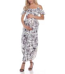 white mark women's maternity cold shoulder tie-dye maxi dress