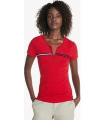 tommy hilfiger women's essential split-neck t-shirt apple red - xxs