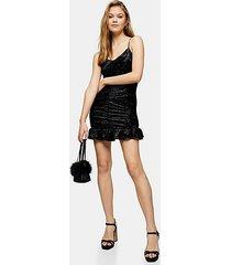 black glitter velvet ruched mini dress - black