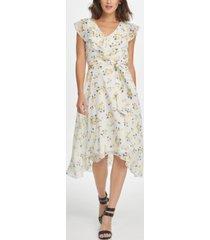 dkny midi floral ruffle v-neck dress