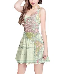 antique world map 1913 sleeveless dress
