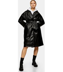black pu padded belted coat - black