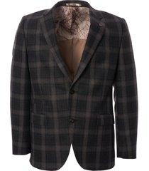 gibson london tartan check blazer - charcoal g18215tgj