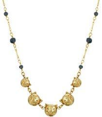 2028 women's 14k gold dipped cat faces with blue beaded chain necklace