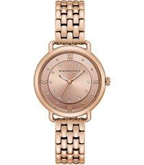 bcbgmaxazria women's rose goldtone stainless steel & crystal bracelet watch