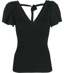 p.a.r.o.s.h. blusa de tricô canelado com mangas bufantes - preto