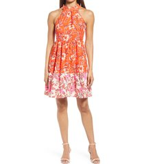 women's eliza j floral high neck fit & flare dress, size 12 - orange