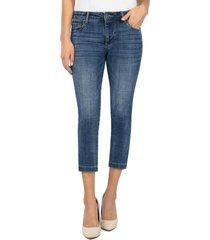 petite women's kut from the kloth lauren crop straight leg jeans, size 18p - blue