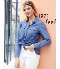 yoins botón azul diseño classic blusa de manga larga con cuello