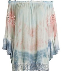 surf gypsy women's off-the-shoulder tie-dye coverup - white pastel - size m