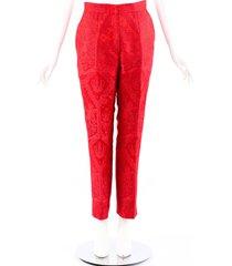 dolce & gabbana red printed high waist pants men's red sz: s