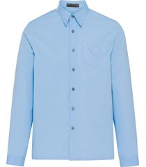 prada triangle logo patch shirt - blue