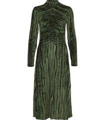 asher, 910 velvet devoré jurk knielengte groen stine goya