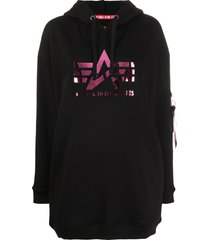 alpha industries logo print oversized hoodie - black