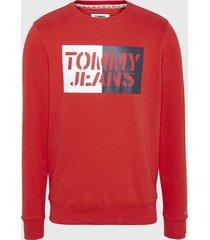 polerón tommy jeans rojo - calce slim fit