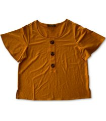 alfani petite flutter-sleeve top, created for macy's