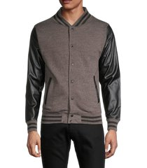 kinetix men's faux leather-sleeve varsity jacket - solid black - size xl