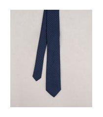 gravata masculina em jacquard estampada de poá azul marinho