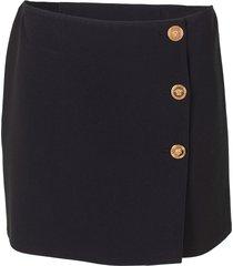 gold button mini skirt
