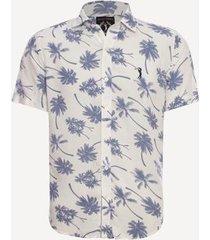 camisa aleatory manga curta estampada coqueiros masculina