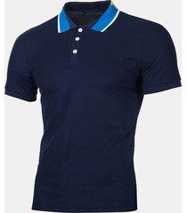 mens estate traspirante comodo tinta unita sottile business casual golf camicia