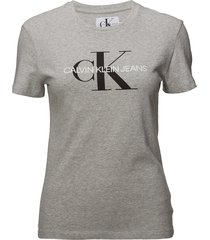 core monogram logo regular fit tee t-shirts & tops short-sleeved grå calvin klein jeans